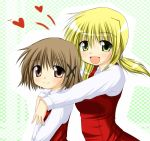brown_eyes brown_hair heart hidamari_sketch hug kagura_chitose miyako school_uniform short_hair yellow_eyes yuno