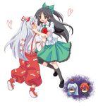 ame braid fujiwara_no_mokou heart jealous jpeg_artifacts kaenbyou_rin kamishirasawa_keine multiple_girls reiuji_utsuho simple_background touhou yuri