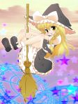 bloomers braid broom broom_riding hat highres kirisame_marisa magic_circle mikiharu ribbon ribbons star stars touhou witch_hat yellow_eyes