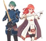 1boy 1girl alm_(fire_emblem) arm_guards armor bangs black_legwear breastplate cape celica_(fire_emblem) circlet detached_collar dress earrings fingerless_gloves fire_emblem fire_emblem_echoes:_mou_hitori_no_eiyuuou fire_emblem_heroes gloves green_eyes green_hair hair_ornament highres jewelry long_hair looking_at_viewer nana_(mizukas) red_eyes redhead simple_background smile solo sword thigh-highs tiara weapon zettai_ryouiki