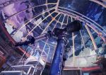 1girl blue_eyes blush brown_hair highres looking_away looking_up night observatory observatory_dome original remosse512 scenery short_hair sitting sky solo star_(sky) stargazing stepladder telescope