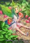 1girl bag bird_wings blouse chachie character_request company_name copyright_name dress fairy feathered_wings flower food fruit green_eyes green_hair hair_flower hair_ornament holding holding_fruit long_hair looking_at_viewer minigirl no_socks on_ground open_mouth outdoors pink_skirt plant puffy_short_sleeves puffy_sleeves sandals satchel short_sleeves shoulder_bag sitting skirt solo sparkle straw strawberry watermark white_blouse wings z/x