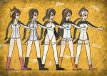 5girls 7kita black_boots blonde_hair boots breasts brown_shoes closed_mouth collarbone crack egyptian_art emperor_penguin_(kemono_friends) frilled_legwear from_side full_body gentoo_penguin_(kemono_friends) headphones highleg highleg_leotard highres humboldt_penguin_(kemono_friends) kemono_friends kita_(7kita) knee_boots legs_apart leotard long_hair low_twintails medium_breasts multicolored_hair multiple_girls mural orange_boots orange_hair outstretched_arm penguin_tail penguins_performance_project_(kemono_friends) pink_boots pink_hair pink_shoes pleated_skirt profile purple_hair rockhopper_penguin_(kemono_friends) royal_penguin_(kemono_friends) shoes skirt smile socks standing streaked_hair thigh-highs twintails two-tone_hair very_long_hair white_hair white_legwear white_skirt yellow_background