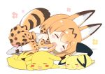1girl animal_ears closed_eyes crossover curled_up elbow_gloves eyebrows_visible_through_hair gloves high-waist_skirt kemono_friends lying on_side on_stomach open_mouth pichu pikachu pokemon pokemon_(creature) serval_(kemono_friends) serval_ears serval_print serval_tail shadow shirt skirt sleeveless sleeveless_shirt striped_tail tail thigh-highs watanohara zettai_ryouiki