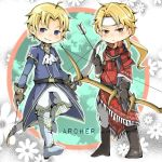 2boys arrow blonde_hair bloomsq boots bow_(weapon) fire_emblem fire_emblem:_ankoku_ryuu_to_hikari_no_tsurugi fire_emblem:_fuuin_no_tsurugi fire_emblem:_monshou_no_nazo fire_emblem:_shin_ankoku_ryuu_to_hikari_no_tsurugi fire_emblem_heroes headband holding holding_weapon jeorge_(fire_emblem) klein_(fire_emblem) looking_at_viewer male_focus multiple_boys smile weapon