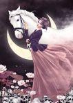 1girl bridle brown_hair crescent_moon dress flower hair_ornament highres horse lipstick looking_at_viewer luna_ouyang makeup moon original pile_of_skulls standing tan_gloves white_horse