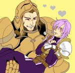 2boys adusa armor blush brown_hair fire_emblem fire_emblem_echoes:_mou_hitori_no_eiyuuou gloves heart heart-shaped_pupils helmet leo_(fire_emblem) long_hair male_focus multiple_boys purple_hair simple_background single_glove symbol-shaped_pupils teeth valbar_(fire_emblem) violet_eyes yaoi yellow_background
