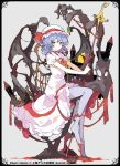 1girl alternate_eye_color blood dress hat ideolo lavender_hair lavender_legwear looking_at_viewer no_nose no_shoes pantyhose polearm purple_legwear remilia_scarlet ribbon short_hair sitting smile solo spear touhou weapon wings yellow_eyes