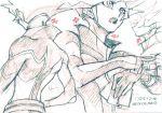 1boy bodysuit card character_sheet cocconeis directional_arrow duel_disk fujiki_yuusaku graphite_(medium) male_focus open_mouth playmaker spiky_hair traditional_media yu-gi-oh! yuu-gi-ou_vrains