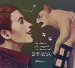 1boy 2017 animal artist_name cat fangs formaggio from_side highres holding holding_animal jojo_no_kimyou_na_bouken male_focus meron_nouka open_mouth orange_hair paw_print profile signature smile teeth