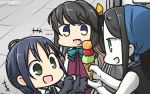 +++ 3girls black_hair blue_hair bow commentary dated elbow_gloves fang food gloves hamu_koutarou highres ice_cream ice_cream_cone kantai_collection long_hair low_twintails multicolored_hair multiple_girls naganami_(kantai_collection) open_mouth pale_skin pink_hair ru-class_battleship school_uniform serafuku shinkaisei-kan sleeveless suzukaze_(kantai_collection) twintails