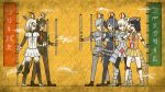 6+girls 7kita african_porcupine_(kemono_friends) arabian_oryx_(kemono_friends) armadillo_ears armor armored_boots armored_dress aurochs_(kemono_friends) banner beige_shoes belt black_boots black_eyes black_gloves black_hair black_legwear black_shoes blonde_hair boots breasts brown_hat brown_necktie brown_shoes camouflage camouflage_shirt camouflage_skirt closed_mouth collared_shirt commentary_request crack drill_hair egyptian_art elbow_pads fingerless_gloves from_side full_body gauntlets giant_armadillo_(kemono_friends) gloves green_hair grey_hair grey_legwear grey_necktie grey_shirt grey_shorts hair_between_eyes hat head_wings hieroglyphics high_ponytail highres holding_flag horns kemono_friends kita_(7kita) knee_pads legs_apart loafers long_hair long_sleeves medium_breasts midriff multicolored_hair multiple_girls necktie orange_necktie oryx_ears oryx_tail pantyhose paper_balloon pleated_skirt profile scroll shirt shoebill_(kemono_friends) shoes short_sleeves shorts skirt standing striped striped_necktie striped_skirt sweater_vest thigh-highs translated two-tone_hair white_hair white_necktie white_rhinoceros_(kemono_friends) white_shirt white_shoes white_skirt wing_collar wrist_cuffs wristband yellow_background yellow_skirt