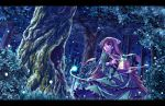 1girl brown_hair fireflies forest heterochromia long_hair nature revision rozen_maiden sasa_ichi scenery solo suiseiseki watering_can