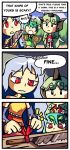 3girls 3koma antennae butterfly_wings cleaver comic commentary english etarnity_larva green_hair horn knife komano_aunn multiple_girls red_eyes ribbon sakata_nemuno setz touhou wings