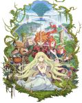 armor beard blonde_hair closed_eyes dress facial_hair floating_hair flower gloves haccan hair_flower hair_ornament hands_clasped harp highres holding holding_sword holding_weapon instrument kneeling long_hair looking_at_viewer official_art outdoors ponytail rainbow redhead robot seiken_densetsu smile standing sword very_long_hair water waterfall weapon