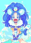 1girl :d animal_ears asymmetrical_clothes blue blue_background blue_choker blue_eyes blue_gloves blue_hair blue_jacket blue_legwear blush choker cure_gelato earrings eyelashes fang food_themed_hair_ornament fur fur_jacket fur_trim gloves hair_ornament highres jacket jewelry kirakira_precure_a_la_mode lion_ears lion_tail long_hair looking_at_viewer magical_girl open_mouth ponekusan ponytail precure short_sleeves single_thighhigh smile solo tail tategami_aoi thigh-highs
