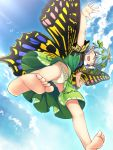 1girl barefoot bird blue_hair blue_sky blush_stickers butterfly_wings chima_q closed_eyes clouds cloudy_sky day dress etarnity_larva feet from_below green_dress green_panties highres outdoors outstretched_arms panties polka_dot polka_dot_panties sky smile soles solo sunlight toes touhou underwear wings