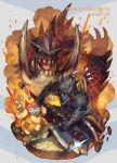 1boy akantor armor battle character_name copyright_name felyne full_armor fur_coat helmet holding holding_weapon monster monster_hunter monster_hunter_4 monster_hunter_4_g nishihara_isao sharp_teeth teeth tusks weapon