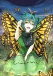 1girl antennae blue_hair blush breasts butterfly_wings dress etarnity_larva grass green_dress hair_between_eyes hair_ornament highres kagami_toufu kneeling large_breasts leaf_hair_ornament looking_at_viewer night open_mouth orange_eyes outdoors short_hair solo tareme touhou wings