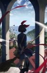 1girl animal arms_behind_back artist_name bag bay bird black_hair black_hat blue_dress blurry boat broom building commentary crack day dress einiv facing_away from_behind hair_ribbon hand_on_own_wrist hat highres holding holding_broom horizon house jiji_(majo_no_takkyuubin) kiki legs_together majo_no_takkyuubin motion_blur ocean over_shoulder pillar red_ribbon ribbon sailboat satchel seagull short_hair signature sleeves_past_elbows solo standing town water watercraft whiskers