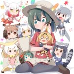 >_< +++ 6+girls :< :3 :d animal_ears backpack backpack_removed bag black_eyes black_gloves black_legwear blonde_hair blush brown_eyes brown_hair chibi child closed_eyes commentary common_raccoon_(kemono_friends) eurasian_eagle_owl_(kemono_friends) fang fennec_(kemono_friends) fox_ears fox_tail gloves gradient green_eyes green_hair grey_hair hat hat_feather head_wings highres hug japanese_crested_ibis_(kemono_friends) japari_symbol kaban_(kemono_friends) kemono_friends makuran multicolored_hair multiple_girls musical_note northern_white-faced_owl_(kemono_friends) open_mouth otter_ears otter_tail pantyhose_under_shorts raccoon_ears raccoon_tail red_shirt redhead serval_(kemono_friends) serval_ears serval_tail shirt short_hair shorts sitting small-clawed_otter_(kemono_friends) smile tail tsuchinoko_(kemono_friends) wariza xd yellow_eyes younger