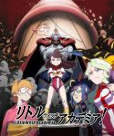 blonde_hair blue_eyes brown_eyes brown_hair crossed_arms diana_cavendish freckles glasses grand_charion gunbuster_pose hair_ornament hat kagari_atsuko little_witch_academia long_hair looking_at_viewer lotte_jansson multiple_girls orange_hair red_eyes seiyuu_connection serious short_hair skirt smile sucy_manbavaran sunglasses top_wo_nerae! uganda ursula_charistes