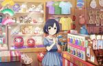 1girl bangs basket bell blue_dress blue_hair bob_cut bow charm_(object) closed_mouth clothes_hanger clothes_writing coin_purse collarbone daruma_doll display_case dress eyebrows_visible_through_hair eyelashes falling fan folding_fan hands_up holding indoors jewelry jingle_bell lantern looking_at_viewer maneki-neko necklace own_hands_together pale_skin paper_lantern parted_bangs pink_bow price_tag puffy_short_sleeves puffy_sleeves raised_eyebrows sack sash shirt shop short_hair short_sleeves sleeve_cuffs solo t-shirt translation_request