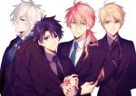4boys adjusting_clothes adjusting_necktie ahoge alternate_costume artist_request black_gloves black_hair black_necktie blonde_hair blue_eyes character_request closed_mouth command_spell commentary_request edmond_dantes_(fate/grand_order) eyebrows_visible_through_hair fate/grand_order fate/prototype fate_(series) formal fujimaru_ritsuka_(male) gloves green_eyes green_necktie long_hair looking_at_viewer male_focus multiple_boys necktie orange_hair parted_lips ponytail red_eyes romani_akiman saber_(fate/prototype) simple_background suit upper_body white_background white_hair
