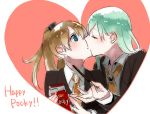 2girls aqua_hair blue_eyes blush brown_hair closed_eyes collar commentary_request english food heart heart_background highres holding holding_food kantai_collection kiss kumano_(kantai_collection) multiple_girls nail_polish necktie pocky pocky_day shuu-0208 suzuya_(kantai_collection) yuri