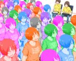 6+girls angry blue bob_cut brown_hair chair clipboard clothes_writing colorful commentary_request constricted_pupils crowd crying expressionless expressions glasses green happy looking_at_viewer multiple_girls multiple_persona original pink purple shirt simple_background sitting smile staring t-shirt tearing_up tears walking white_background yajirushi_(chanoma) yawning
