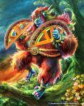 animal_ears belt bracelet cardfight!!_vanguard company_name flower full_body hair_ornament jewelry leaf matsushima_kazuo no_humans official_art orangutan pink_eyes protactor_orangutan protractor solo teeth tree