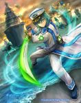 1boy back blue_storm_soldier_rascal_sweeper cardfight!!_vanguard clouds cloudy_sky company_name faceless faceless_male full_body green_eyes green_hair hat long_hair male_focus matsushima_kazuo military military_hat military_uniform official_art ship sky solo sword uniform water watercraft weapon