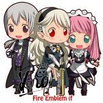 1boy 2girls armor barefoot butler cape chibi father_and_daughter female_my_unit_(fire_emblem_if) fire_emblem fire_emblem_if gloves grey_hair hairband joker_(fire_emblem_if) kero_sweet long_hair low_ponytail maid mother_and_daughter multiple_girls my_unit_(fire_emblem_if) open_mouth pointy_ears ponytail red_eyes short_hair smile sword violet_eyes weapon white_hair