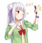 1girl ;) alternate_costume bangs blush cardigan closed_mouth contemporary emilia_(re:zero) flower grey_hair hair_flower hair_ornament hair_ribbon headdress holding holding_phone itachi_kanade long_hair looking_to_the_side one_eye_closed open_cardigan open_clothes phone pointy_ears purple_ribbon re:zero_kara_hajimeru_isekai_seikatsu ribbon sailor_collar school_uniform scrunchie self_shot serafuku shiny shiny_hair silver_hair simple_background sleeves_past_elbows smile solo upper_body v violet_eyes white_background white_flower wrist_scrunchie