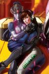 2girls acronym animal_print arm_tattoo ass bangs bodysuit breasts brown_eyes brown_hair bunny_print cleavage clothes_writing crate d.va_(overwatch) facepaint facial_mark g21mm gloves gun head_mounted_display headphones high_collar highres hug lips long_hair looking_at_viewer medium_breasts multiple_girls on_ground overwatch parted_lips pilot_suit pink_bodysuit pink_lips ponytail purple_hair purple_skin ribbed_bodysuit rifle shoulder_pads sitting skin_tight smile swept_bangs tattoo visor weapon whisker_markings white_gloves widowmaker_(overwatch) yellow_eyes yuri