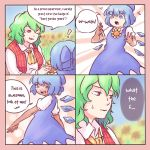 ! 2girls 4koma blue_eyes blue_hair cirno comic crystal dark_skin english eyebrows_visible_through_hair flower green_hair hidden_star_in_four_seasons highres kazami_yuuka looking_at_another multiple_girls one_eye_closed red_eyes short_hair smile speech_bubble sunflower tan tanned_cirno text touhou yoruny