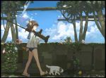 1girl animal_ears brown_eyes dog flip-flops gun holding holding_gun holding_weapon imoman looking_away looking_down machine_gun miyafuji_yoshika sandals short_hair solo strike_witches tail tree weapon world_witches_series