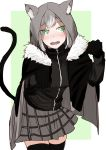 1girl animal_ears animal_hood bangs benbe black_gloves black_legwear blush breasts cat_hood cat_tail cloak cowboy_shot embarrassed fake_animal_ears fangs fate_(series) fur_collar gloves gray_(lord_el-melloi_ii) green_background green_eyes grey_hair grey_skirt head_tilt highres hood hood_up jacket jersey jitome long_sleeves looking_at_viewer lord_el-melloi_ii_case_files nose_blush open_clothes open_jacket open_mouth paw_pose plaid plaid_skirt raised_eyebrows red_jacket simple_background sketch skirt small_breasts standing tail teeth thigh-highs wavy_mouth zettai_ryouiki