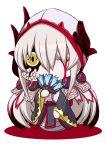 1girl barefoot blood bloody_tears chibi dark_persona fate/grand_order fate_(series) horns japanese_clothes kimono kiyohime_(fate/grand_order) lamia long_hair looking_at_viewer monster_girl ogawa_shou one_eye_closed riyo_(lyomsnpmp)_(style) snake solo white_hair yellow_eyes