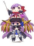 3girls armor armored_boots bb_(fate/extra_ccc) blue_eyes blue_ribbon boots breasts chibi claws coat esoragoto fate/extra fate/extra_ccc fate/grand_order fate_(series) hair_ribbon human_tower large_breasts meltlilith midriff multiple_girls navel passion_lip pink_ribbon prosthesis purple_hair red_eyes red_ribbon ribbon sleeves_past_wrists smile spikes stacking tears violet_eyes
