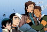 !! 4boys ? black_hair blue_background brown_hair carrying closed_eyes dark_skin dark_skinned_male english halftone halftone_background heart hug hyakujuu-ou_golion keith_(voltron) kurogane_isamu lance_(voltron) looking_at_another male_focus multicolored_hair multiple_boys princess_carry short_hair simple_background smile sweatdrop takashi_shirogane translation_request two-tone_hair undercut voltron:_legendary_defender zero-souma