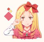 >:q 1girl :q blonde_hair bow brown_eyes dress drill_hair eromanga_sensei frills hair_bow hairband highres long_hair looking_at_viewer pink_dress red_bow smile solo tongue tongue_out upper_body v_over_eye yamada_elf yang_zheng_yu