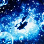 1girl blue blurry bubble dress falling from_behind harada_miyuki hatsune_miku highres leg_up light_particles long_hair monochrome outstretched_arm shinkai_shoujo_(vocaloid) silhouette sinking solo star twintails underwater very_long_hair vocaloid