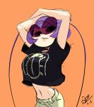 1girl alex_ahad antennae arms_up black_torch breasts casual crop_top crop_top_overhang fallout_(black_torch) large_breasts lips looking_to_the_side midriff puckered_lips purple_hair short_hair slender_waist solo sunglasses