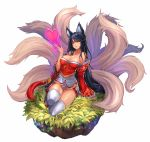 1girl ahri animal_ears arm_support bare_shoulders black_hair breasts cleavage collarbone detached_sleeves facial_mark fox_ears fox_tail heart highres korean_clothes kyuubi large_breasts league_of_legends long_hair multiple_tails orange_eyes qbspdl sandals simple_background sitting slit_pupils solo tail tassel thigh-highs very_long_hair white_background white_legwear wide_sleeves