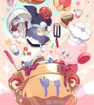 2boys blush cape cooking coooking food gloves hat kirby kirby_(series) komoreg male_focus mask maxim_tomato meta_knight multiple_boys smile sword tomato weapon wings
