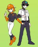 1boy 1girl alternate_hairstyle baseball_cap baseball_uniform black_hair blue_eyes cleats command_spell fate/grand_order fate_(series) fujimaru_ritsuka_(female) fujimaru_ritsuka_(male) full_body green_background hat orange_hair ponytail simple_background smile sportswear undershirt zero-souma