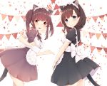 2girls alternate_costume animal_ears apron bangs banner black_dress black_ribbon blue_eyes blunt_bangs blush bow brown_dress brown_eyes brown_hair buttons cat_ears cat_tail closed_mouth commentary_request confetti cowboy_shot cross-laced_clothes dress enmaided extra_ears frilled_apron frilled_hairband frills from_behind hairband highres idolmaster idolmaster_cinderella_girls large_bow leaning_forward looking_at_viewer maid manatsuki_manata medium_dress medium_hair multiple_girls ogata_chieri open_mouth outstretched_hand puffy_short_sleeves puffy_sleeves ribbon sakuma_mayu shiny shiny_skin short_sleeves sidelocks smile standing straight_hair string_of_flags tail tareme teeth twintails white_background white_bow