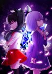 2girls back-to-back black_hair black_legwear closed_eyes dress fate/stay_night fate/zero fate_(series) hair_ribbon highres matou_sakura multiple_girls petals purple_hair ribbon siblings sisters skirt standing thigh-highs tohsaka_rin toosaka_rin violet_eyes yaoshi_jun younger zettai_ryouiki
