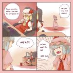 2girls 4koma anger_vein angry ascot bangs bat_wings blonde_hair blue_hair chair collared_shirt comic commentary computer computer_keyboard computer_mouse crystal desk dress dress_shirt emphasis_lines english eyebrows_visible_through_hair fangs flandre_scarlet frilled_cuffs frilled_skirt frills hand_to_own_mouth hand_up hat hat_ribbon highres indoors jewelry left-to-right_manga looking_at_viewer mary_janes mob_cap monitor mousepad_(object) multiple_girls office_chair open_mouth puffy_short_sleeves puffy_sleeves red_eyes red_ribbon red_shoes red_skirt red_vest remilia_scarlet ribbon ribbon_trim right-to-left_comic shirt shoes short_hair short_sleeves siblings side_ponytail sisters sitting skirt skirt_set socks speech_bubble spread_wings standing text tongue touhou trash_can vest wavy_hair white_legwear white_shirt wings wrist_cuffs yoruny